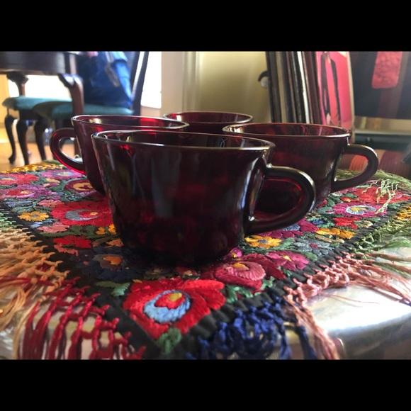 Vintage Other - Set 4 Depression Era Blood Red Coffee Mugs